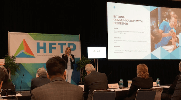 Connie Rheams, Vice President Hospitality at Beekeeper, presenting Beekeeper's workforce app in the E20X competition during HITEC Houston 2018.